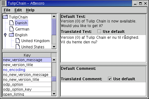 Attesoro screenshot showing Danish translation of English strings.